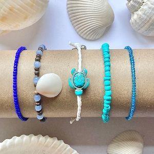 2/15 Turtle & Shell Beaded Blue Bracelets Set of 5